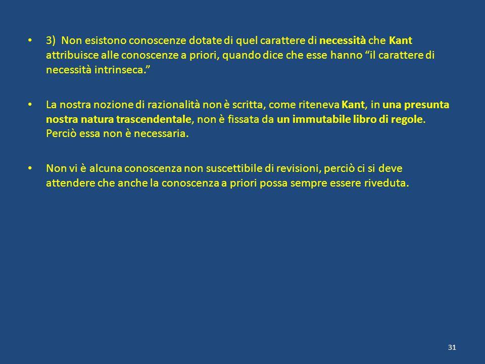 3) Non esistono conoscenze dotate di quel carattere di necessità che Kant attribuisce alle conoscenze a priori, quando dice che esse hanno il carattere di necessità intrinseca.