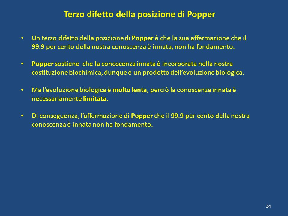 Terzo difetto della posizione di Popper