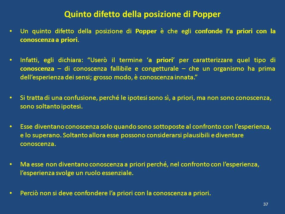 Quinto difetto della posizione di Popper