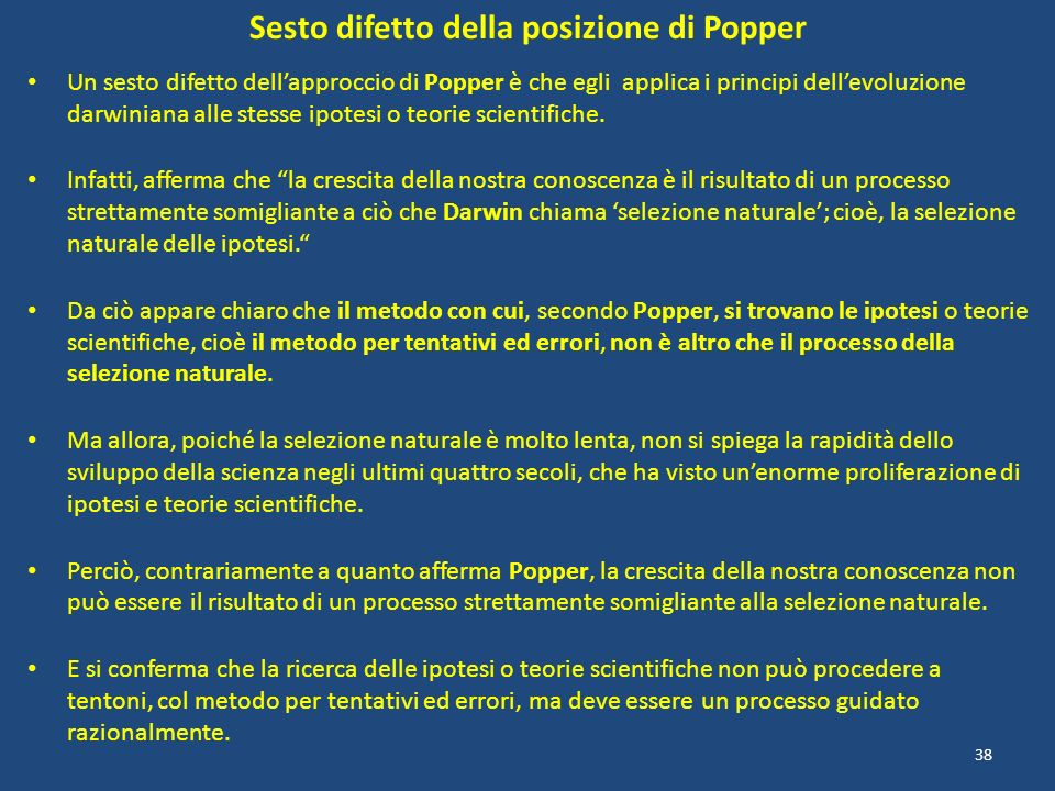 Sesto difetto della posizione di Popper