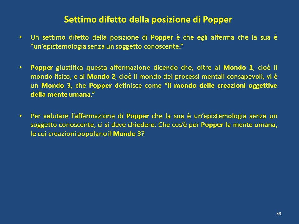 Settimo difetto della posizione di Popper