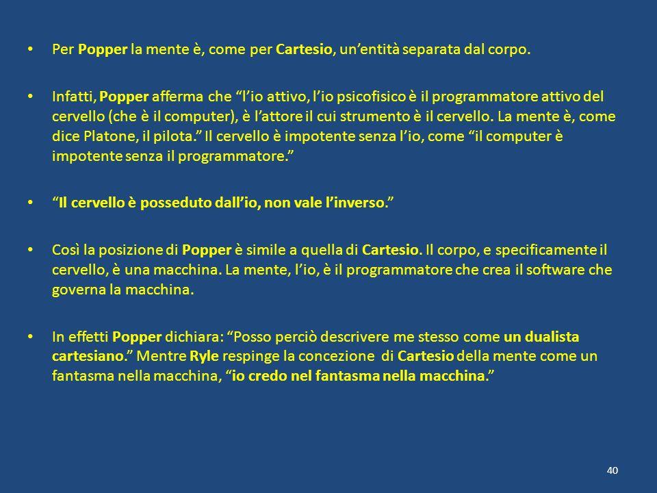 Per Popper la mente è, come per Cartesio, un'entità separata dal corpo.