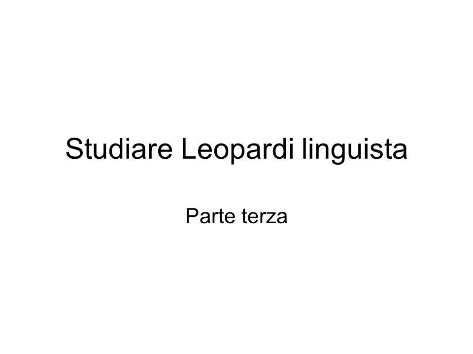 Studiare Leopardi linguista