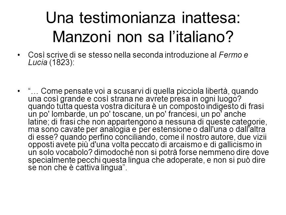 Una testimonianza inattesa: Manzoni non sa l'italiano