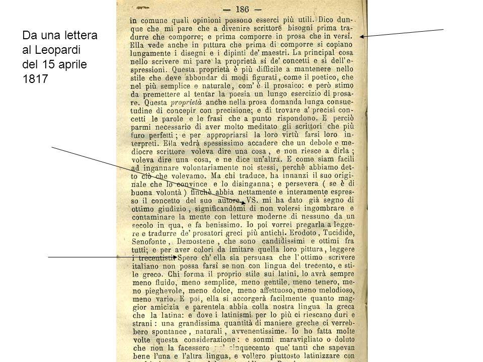 Da una lettera al Leopardi del 15 aprile 1817