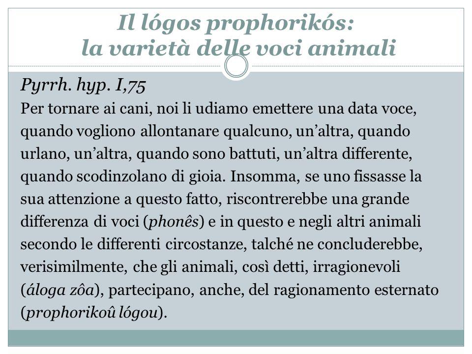 Il lógos prophorikós: la varietà delle voci animali