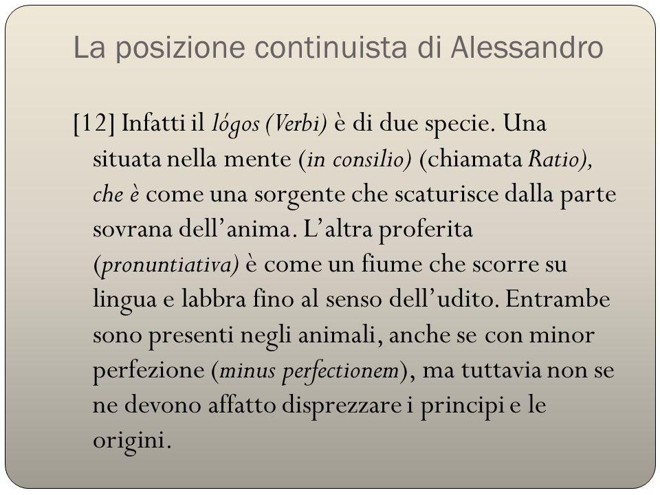La posizione continuista di Alessandro
