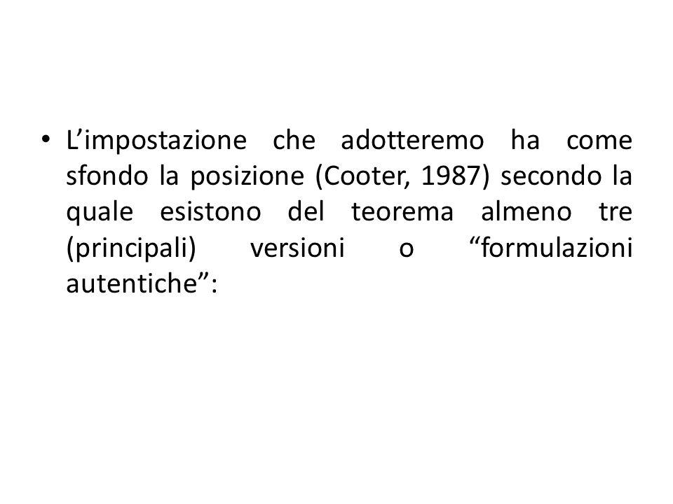 L'impostazione che adotteremo ha come sfondo la posizione (Cooter, 1987) secondo la quale esistono del teorema almeno tre (principali) versioni o formulazioni autentiche :