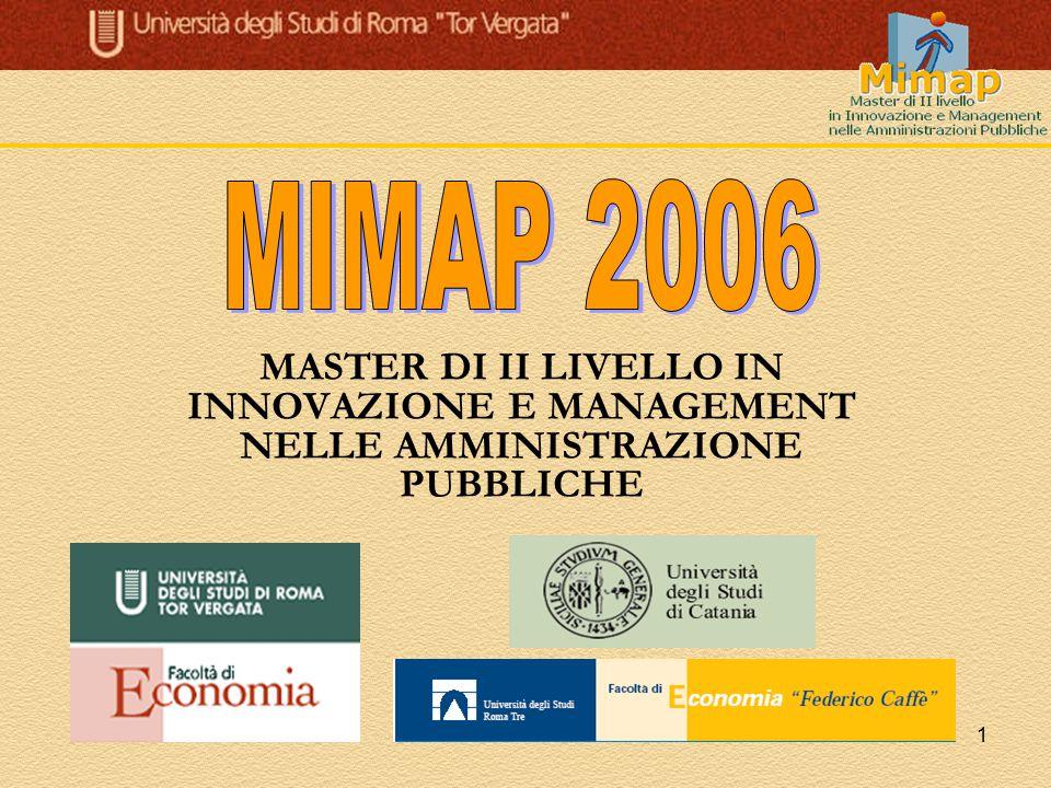 MIMAP 2006 MASTER DI II LIVELLO IN INNOVAZIONE E MANAGEMENT NELLE AMMINISTRAZIONE PUBBLICHE