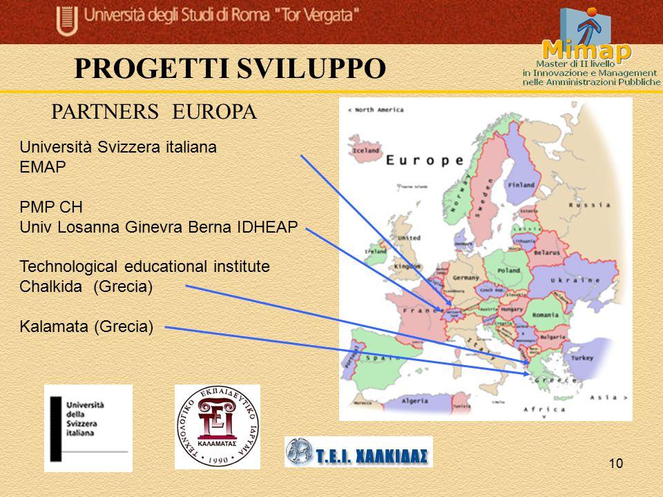 PROGETTI SVILUPPO PARTNERS EUROPA Università Svizzera italiana EMAP