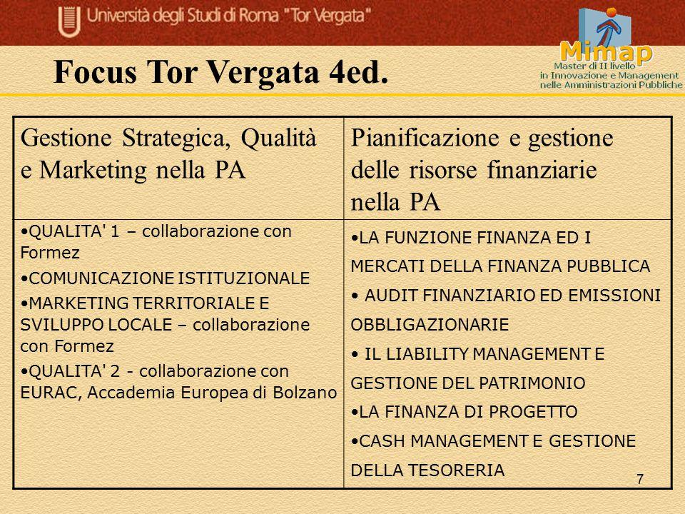 Focus Tor Vergata 4ed. Gestione Strategica, Qualità e Marketing nella PA. Pianificazione e gestione delle risorse finanziarie nella PA.