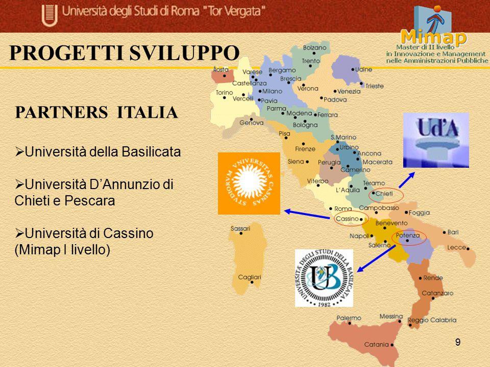 PROGETTI SVILUPPO PARTNERS ITALIA Università della Basilicata