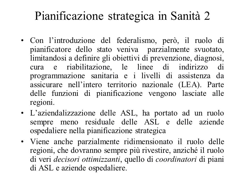 Pianificazione strategica in Sanità 2