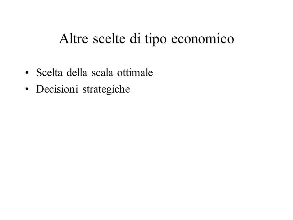 Altre scelte di tipo economico