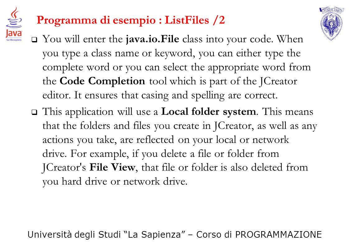 Programma di esempio : ListFiles /2