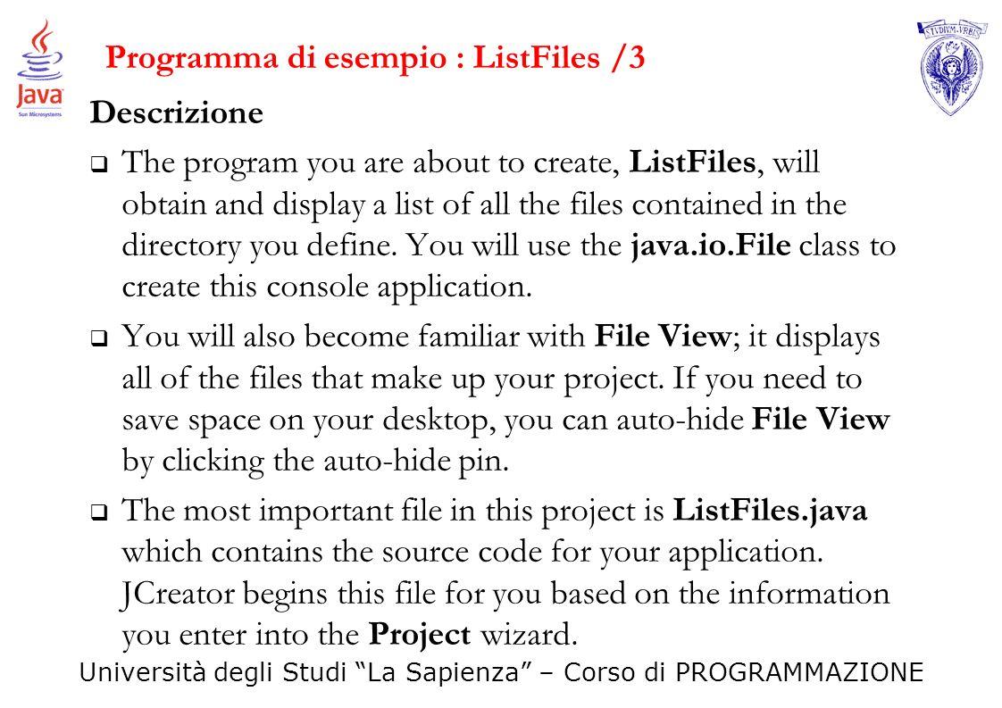 Programma di esempio : ListFiles /3