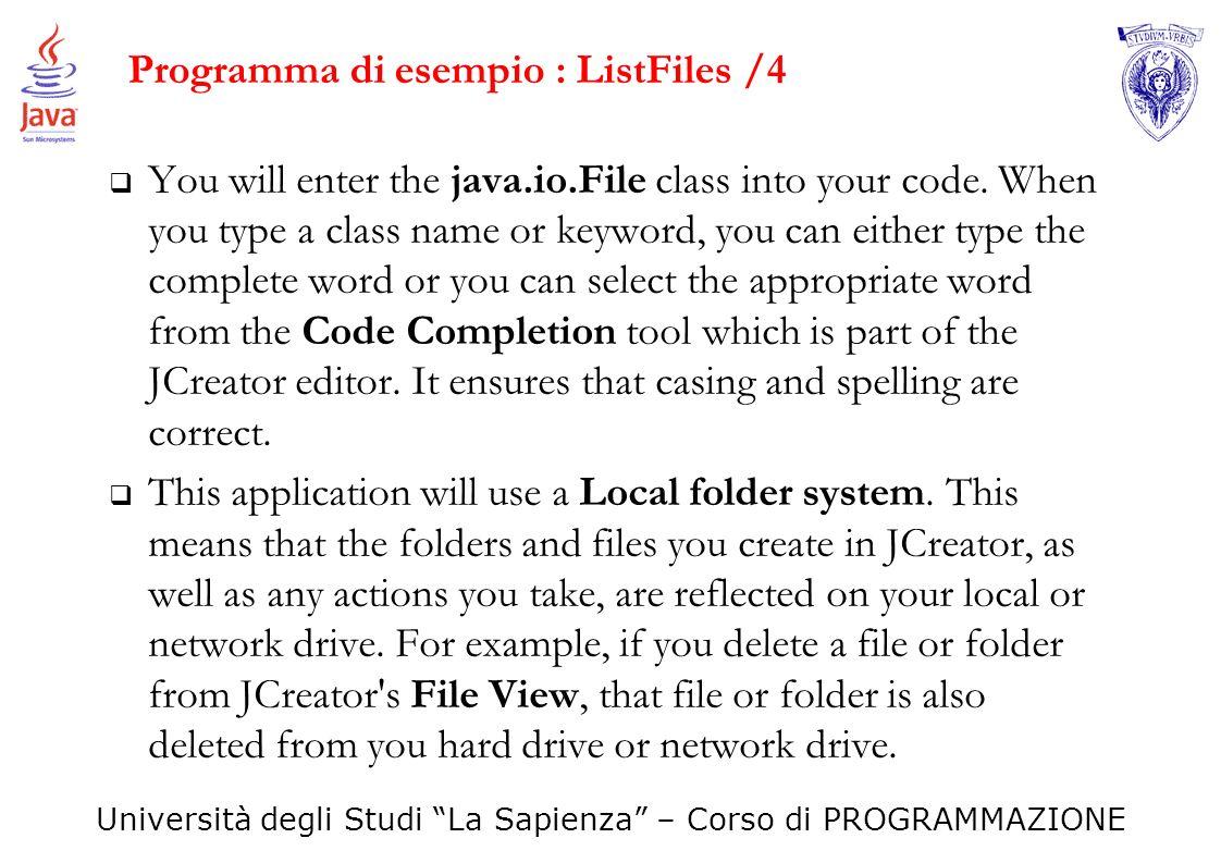 Programma di esempio : ListFiles /4