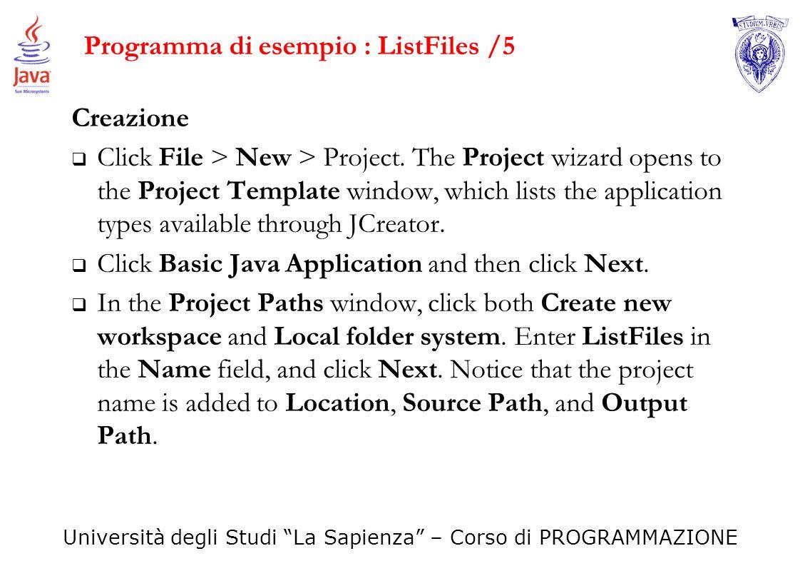 Programma di esempio : ListFiles /5