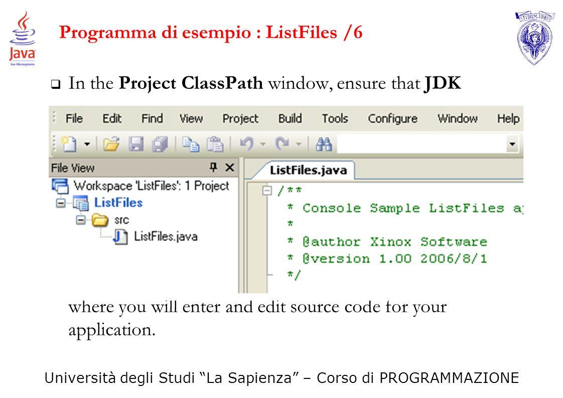 Programma di esempio : ListFiles /6