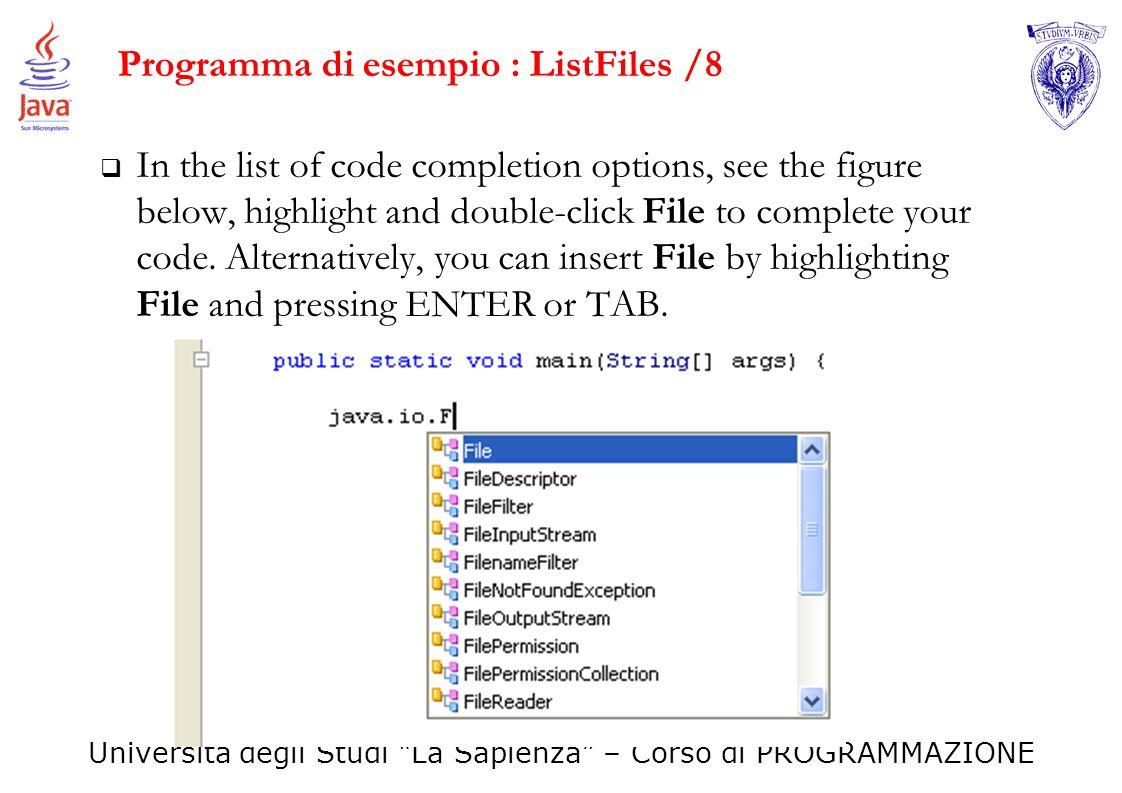 Programma di esempio : ListFiles /8