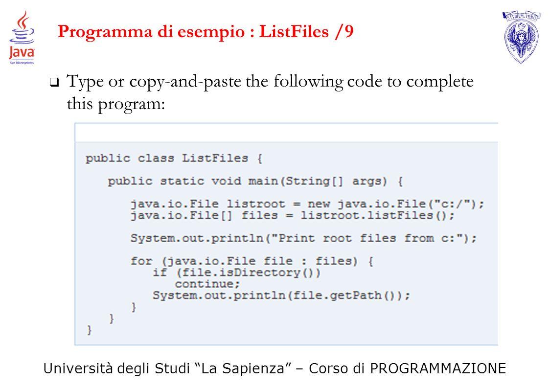 Programma di esempio : ListFiles /9