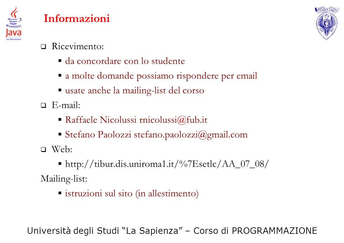Informazioni Ricevimento: da concordare con lo studente