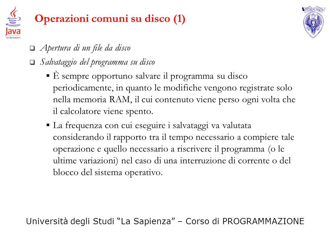 Operazioni comuni su disco (1)
