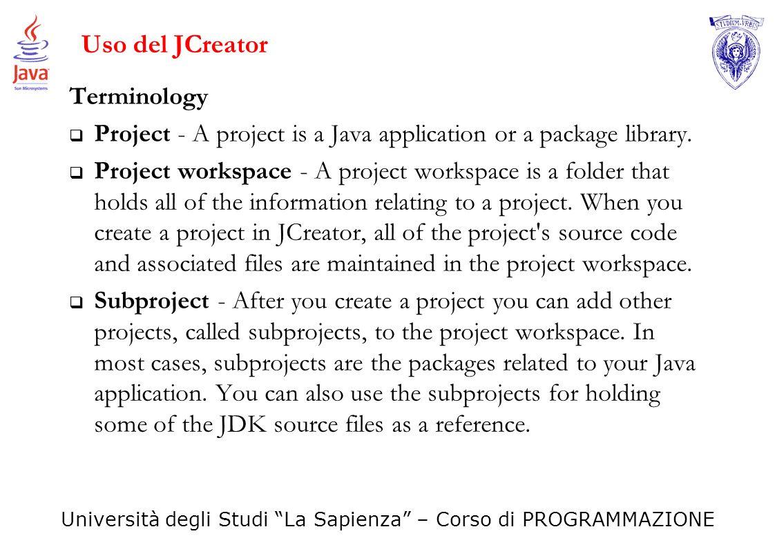 Uso del JCreator Terminology