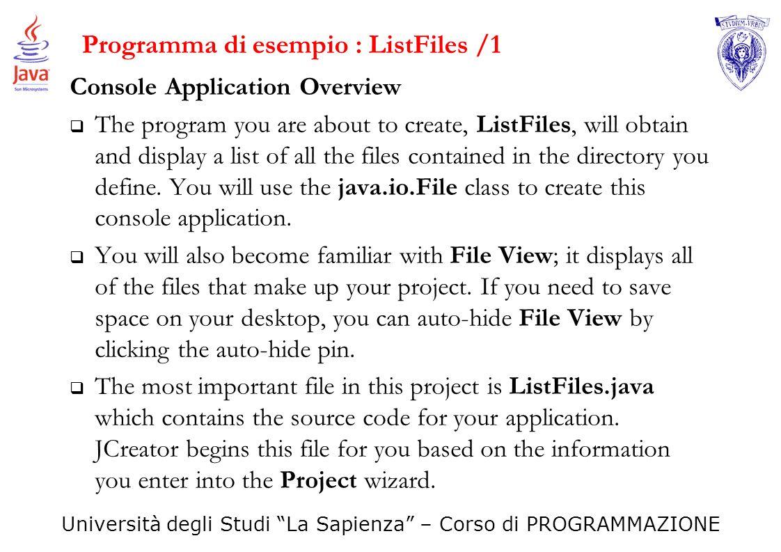 Programma di esempio : ListFiles /1