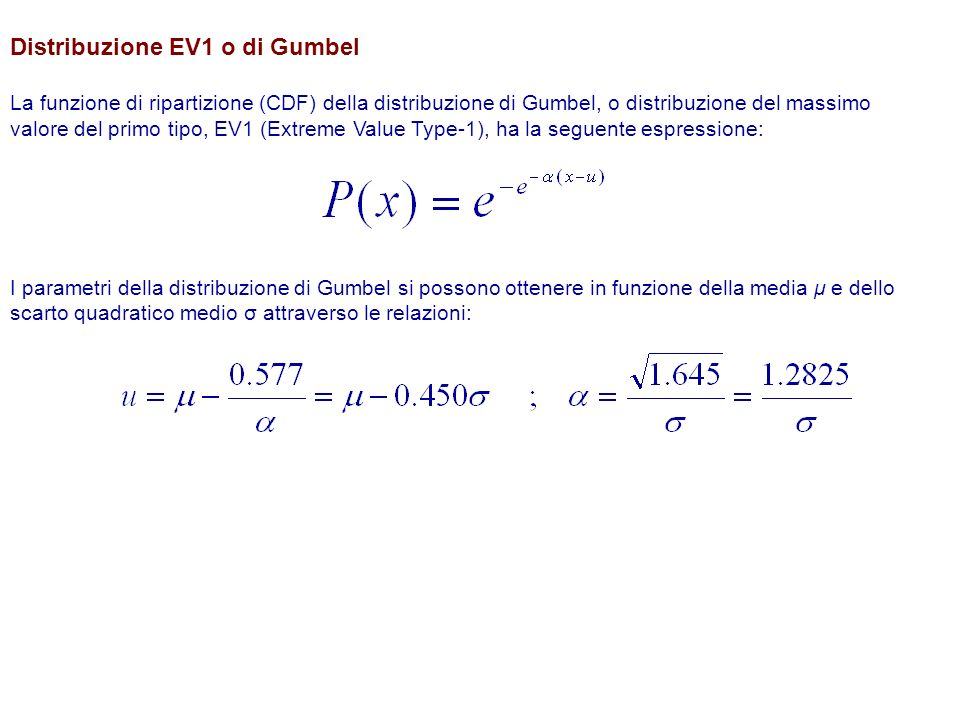 Distribuzione EV1 o di Gumbel