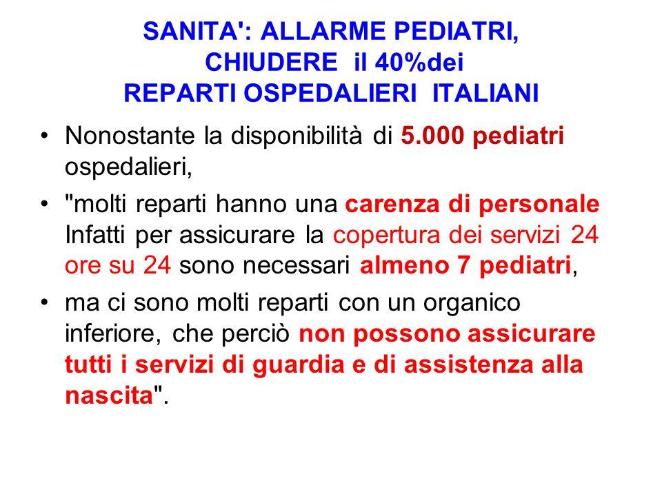 SANITA : ALLARME PEDIATRI, CHIUDERE il 40%dei REPARTI OSPEDALIERI ITALIANI