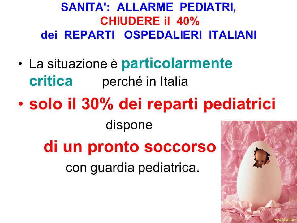 solo il 30% dei reparti pediatrici