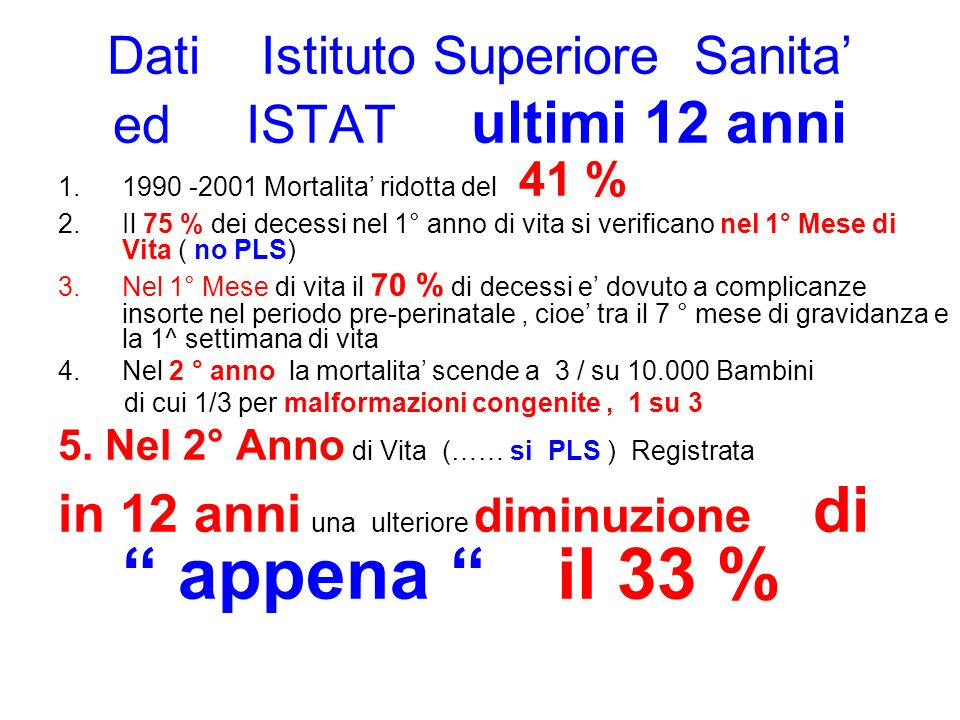 Dati Istituto Superiore Sanita' ed ISTAT ultimi 12 anni