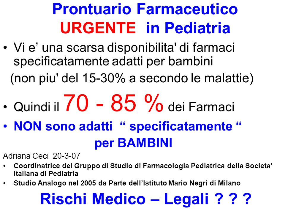 Prontuario Farmaceutico URGENTE in Pediatria