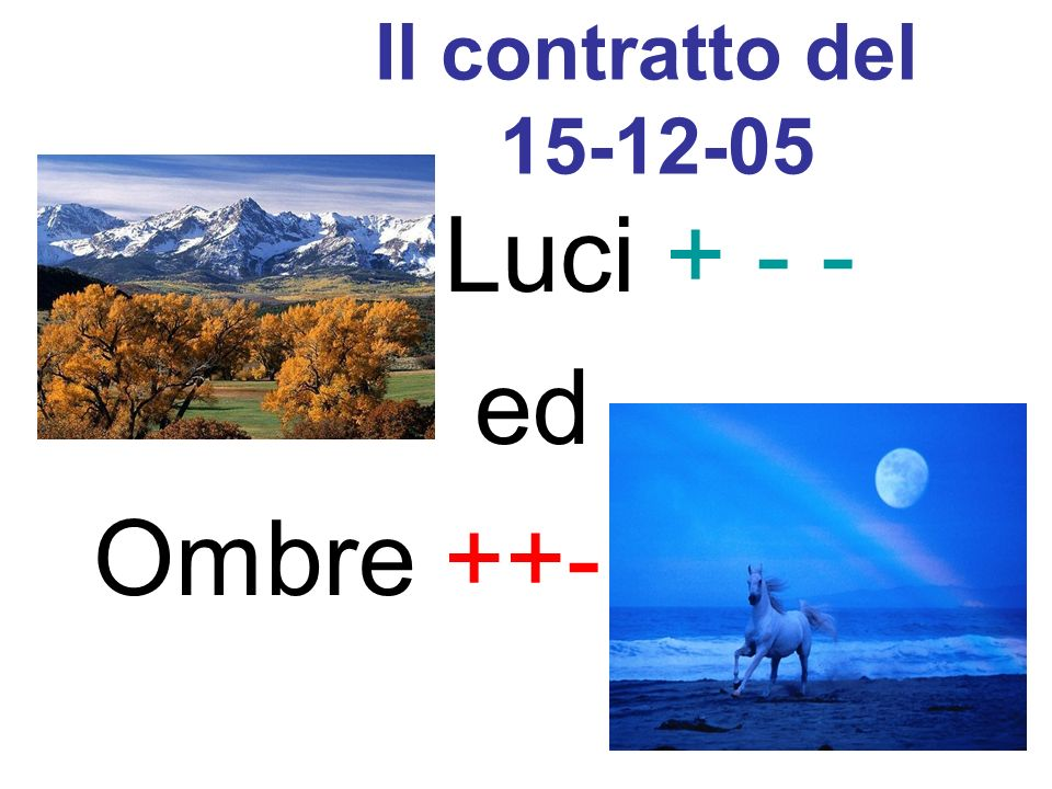 Il contratto del 15-12-05 Luci + - - ed Ombre ++-