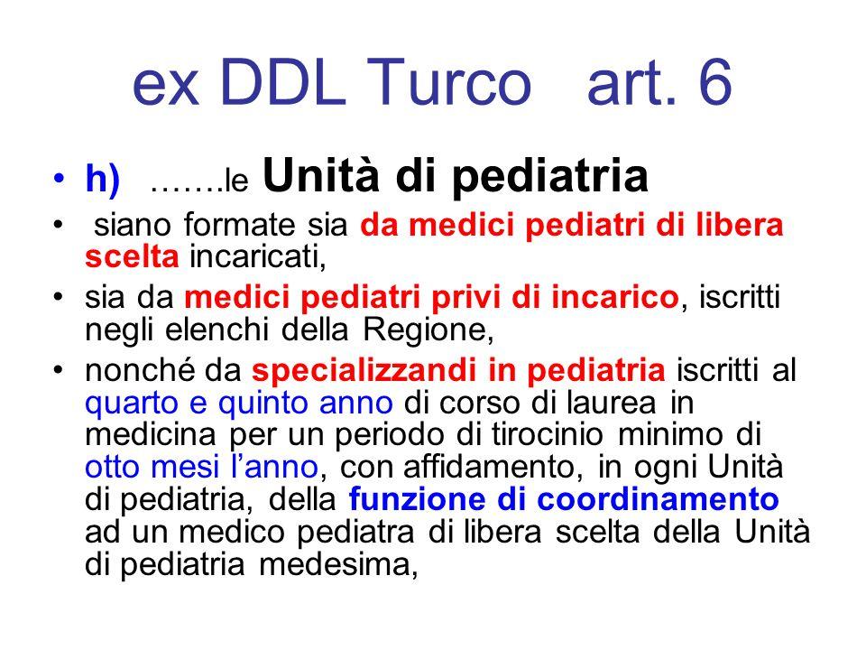 ex DDL Turco art. 6 h) …….le Unità di pediatria