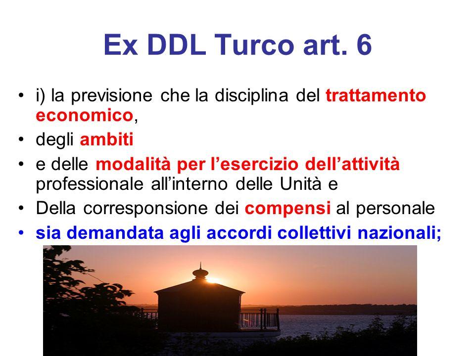 Ex DDL Turco art. 6 i) la previsione che la disciplina del trattamento economico, degli ambiti.