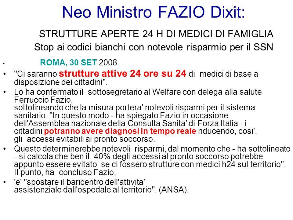 Neo Ministro FAZIO Dixit: STRUTTURE APERTE 24 H DI MEDICI DI FAMIGLIA Stop ai codici bianchi con notevole risparmio per il SSN