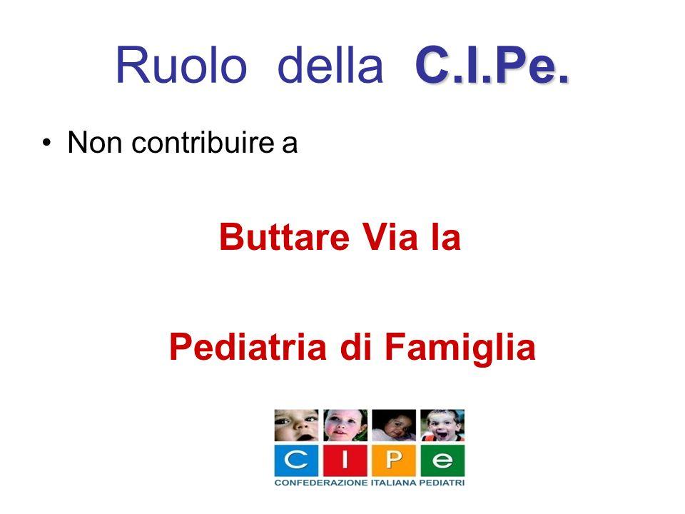 Ruolo della C.I.Pe. Pediatria di Famiglia Non contribuire a