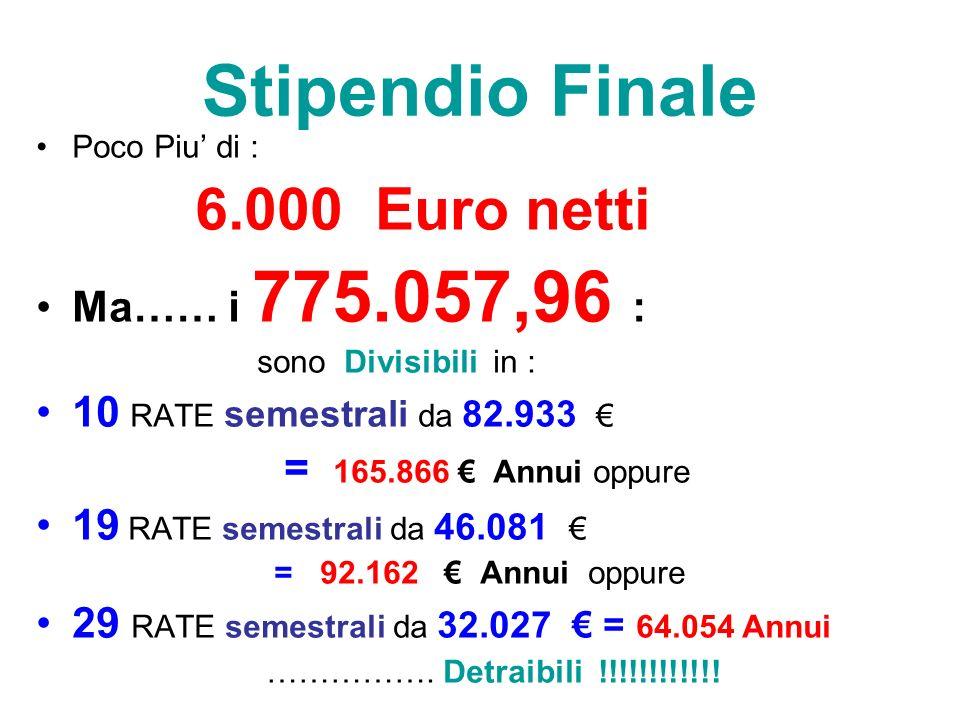 Stipendio Finale Ma…… i 775.057,96 : 10 RATE semestrali da 82.933 €