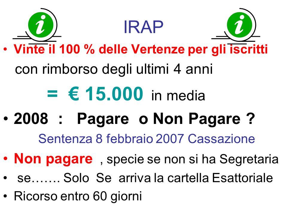 IRAP 2008 : Pagare o Non Pagare con rimborso degli ultimi 4 anni