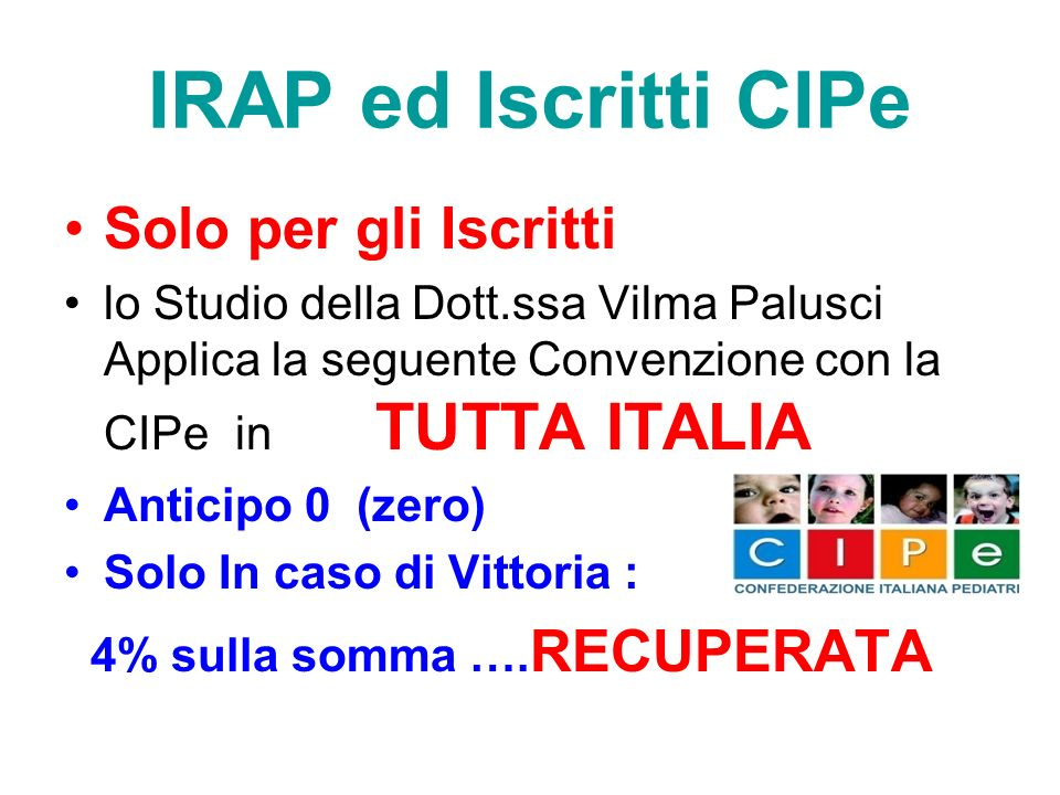 IRAP ed Iscritti CIPe Solo per gli Iscritti
