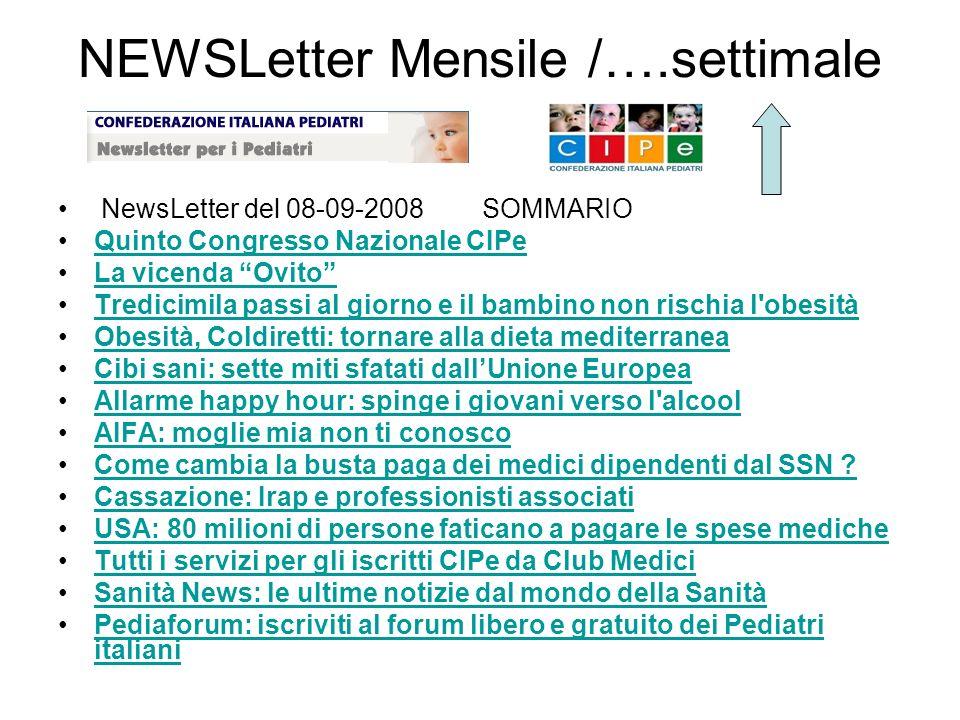 NEWSLetter Mensile /….settimale