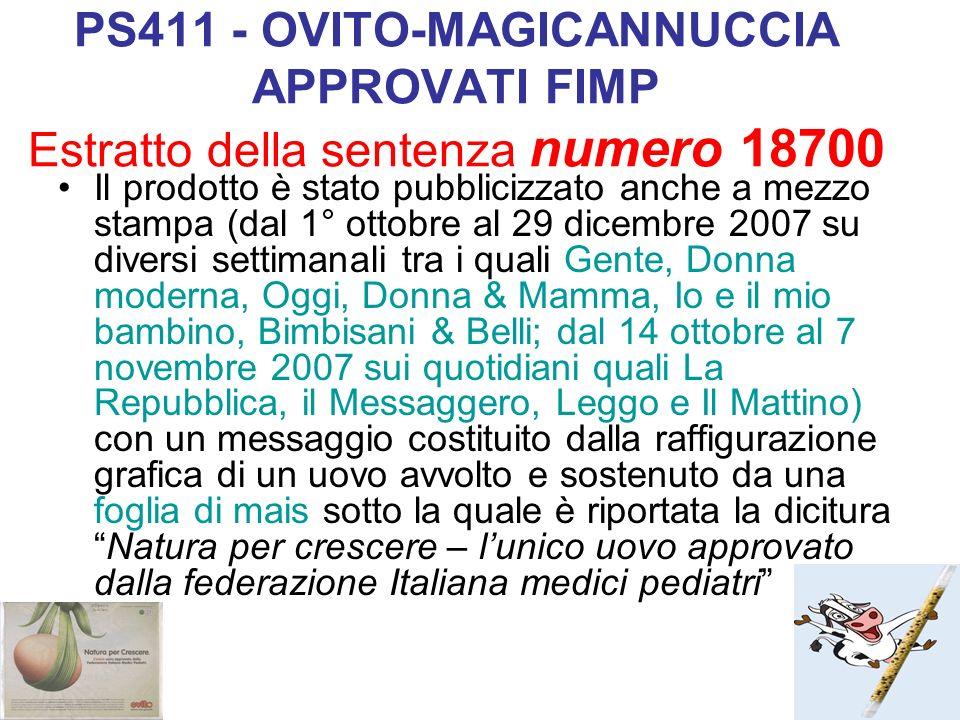 PS411 - OVITO-MAGICANNUCCIA APPROVATI FIMP Estratto della sentenza numero 18700