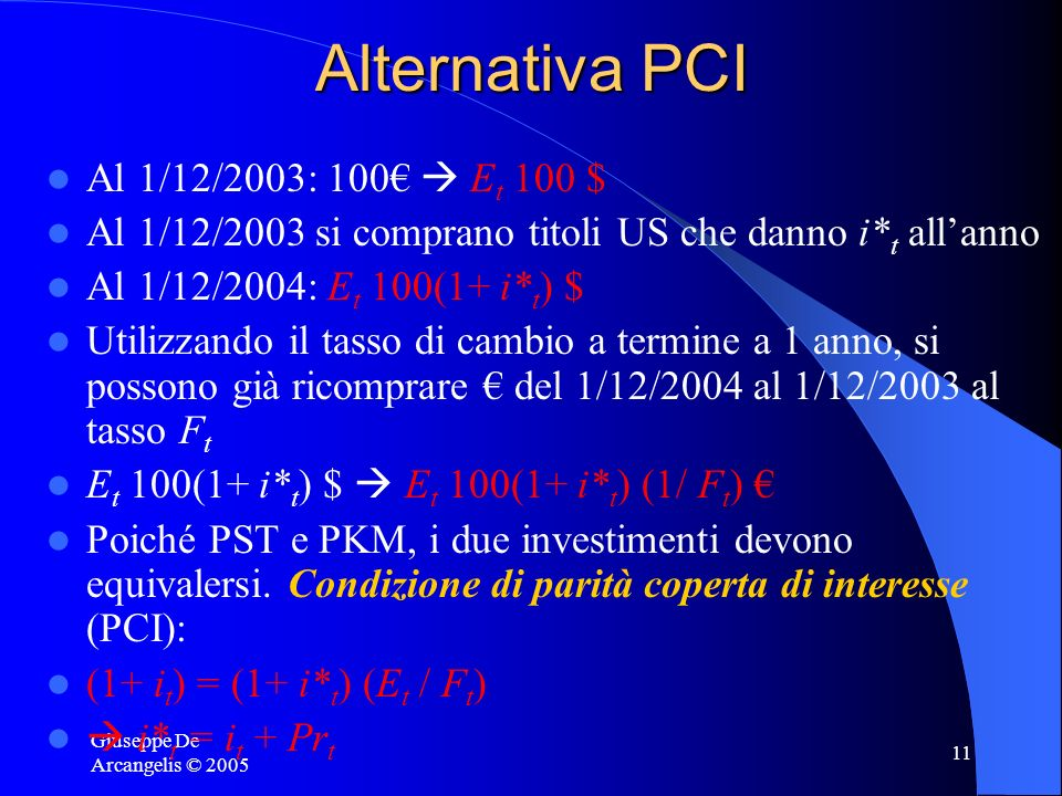 Alternativa PCI Al 1/12/2003: 100€  Et 100 $