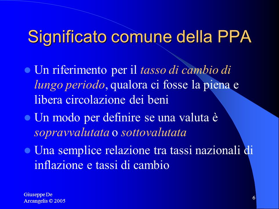 Significato comune della PPA