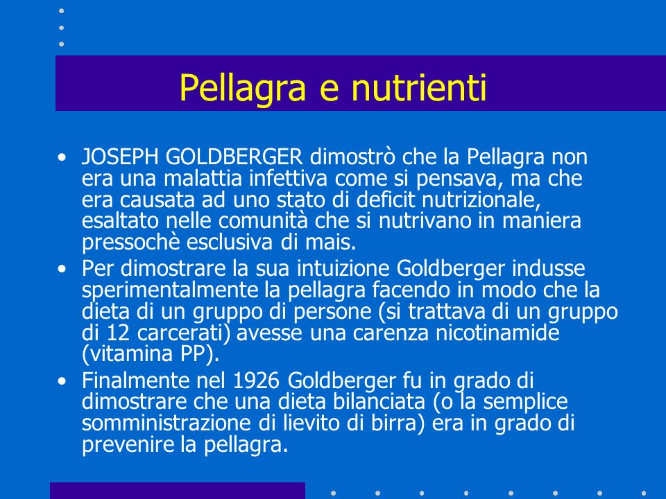 Pellagra e nutrienti