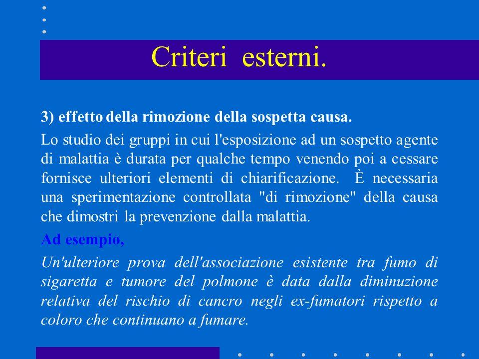 Criteri esterni. 3) effetto della rimozione della sospetta causa.