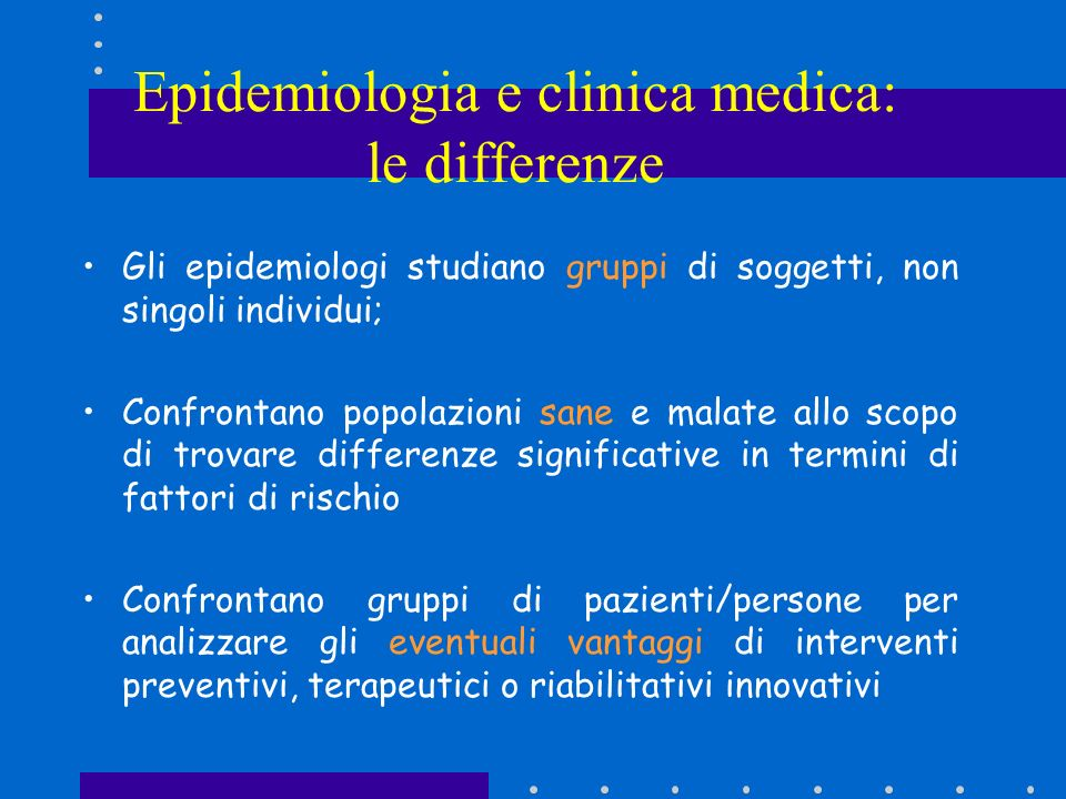 Epidemiologia e clinica medica: le differenze