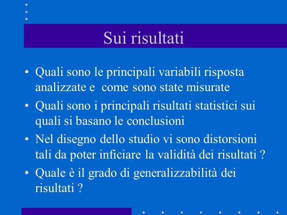 Sui risultati Quali sono le principali variabili risposta analizzate e come sono state misurate.